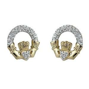 Gold Plated Crystal Claddagh Earrings   Made in Ireland Jewelry