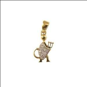 Devil Satan Lucifer Pendant Charm Lab Created Gems 11mm Wide Jewelry
