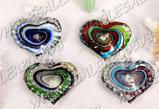 8PCS Heart 55*40MM Lampwork Glass Pendants FREE