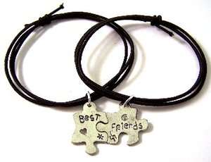 BLACK STRETCH CORD BRACELETS w/ BEST FRIENDS CHARMS