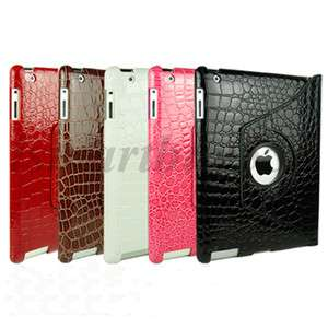 Crocodile Rotating Magnetic Leather Case Smart Cover W/ Swivel Stand