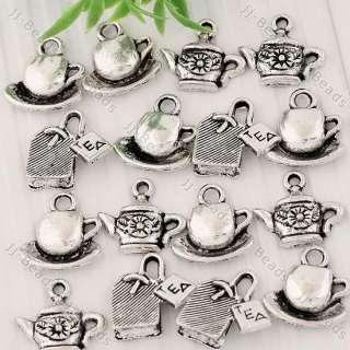 Tibetan Silver Tea Cup Pot Bag Charm Pendant Finding Jewelry