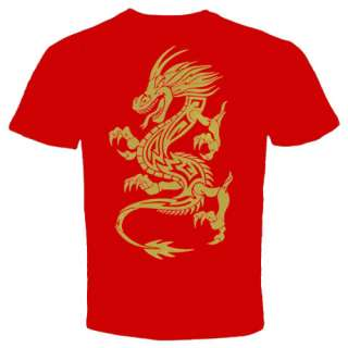 Gold Dragon tattoo chinese Asian New T shirt MMA UFC