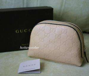 Guccissima Leather Zip Around Travel Case/Cosmetic Bag Clutch Beige