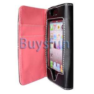 NEW WALLET LEATHER CASE FLIP COVER POUCH SKIN FOR IPHONE 4 4G BLACK