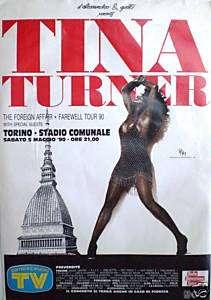 TINA TURNER ITALIAN FAREWELL 1990 TOUR CONCERT POSTER
