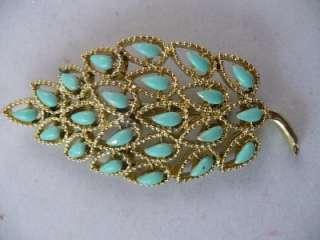 Vintage Signed GERRYS Gold Tone Turquoise Enamel Pin