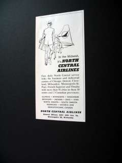 North Central Airlines Midwest Flights 1961 print Ad