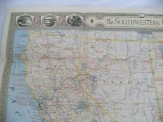 National GEOGRAPHIC SouthWestern United States map 1940 south west