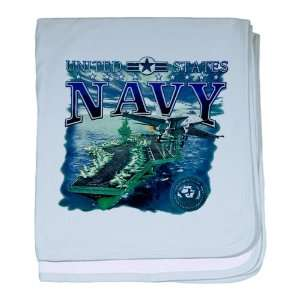 Baby Blanket Sky Blue United States Navy Aircraft Carrier