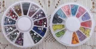 10 Mixed Wheel Nail Art Tip Rhinestone Slice Decoration