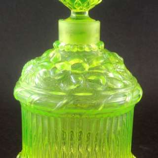 Antique Vaseline Uranium Glass Perfume Bottle Thistles Roses Shamrocks