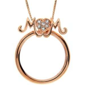 Pink Gold Plated Sterling Silver Diamond Mom Two in One Pendant and
