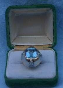 Antique 14K rose Gold,8.70 CT Aquamarine, Diamond Ring