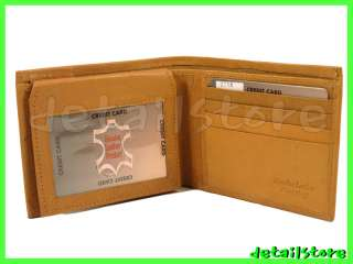 NEW GENUINE LEATHER BIFOLD MEN WALLET TOP ID FLAP TAN