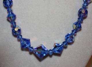 Spectacular Unsigned VENDOME Blue Crystal Necklace & Earring Set