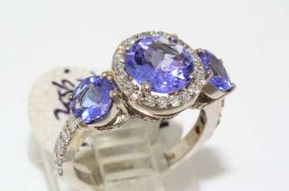 66CT TRIPLE ROUND CUT AAA TANZANITE & DIAMOND RING SIZE 4.25