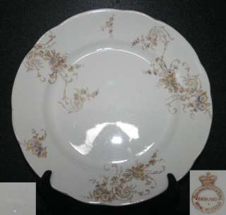 Sons 4 Dinner Plates Yellow Blue Flowers Gold Trim White China