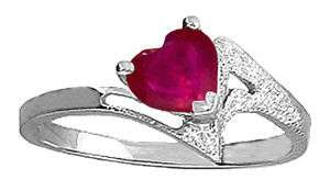 14K. Solid White Gold Ring Natural Red Ruby Heart Solitaire Gemstone