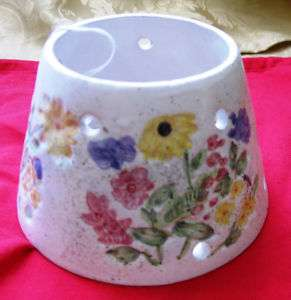 Floral CANDLE JAR SHADE TOPPER Ceramic White LQQK