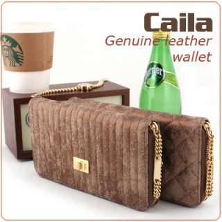 KOREA]Women Genuine leather zip around CAILA long quilted wallet purse