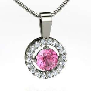 , Round Pink Sapphire 14K White Gold Necklace with Diamond Jewelry