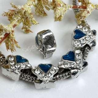 5x Clear Crystal Rhinestone Heart Shape Spacer European Bead Charm