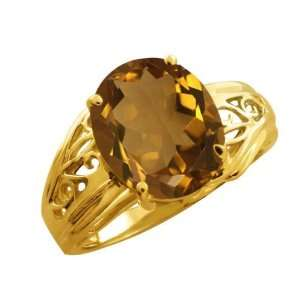 4.30 Ct Oval Whiskey Quartz 18k Yellow Gold Ring Jewelry