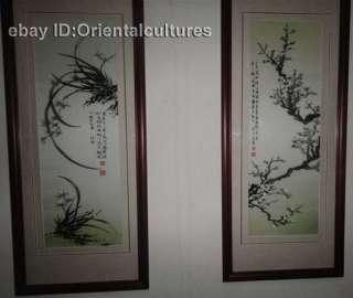 Chinese totally 100% Hand Su silk Embroidery art 4screens birds