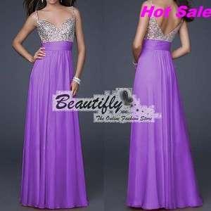 Purple Formal Wedding Prom Lady Women Evening Long Cocktail Dress