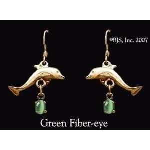 Dolphin Gemstone Earrings, 14k Yellow Gold, Green set