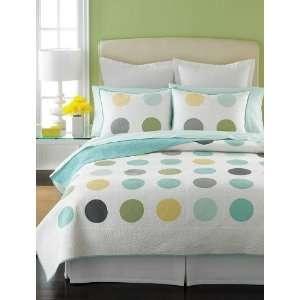 Modern Dots Full/Queen Quilt Aquas/Yellow/Grays/White