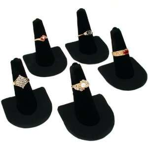 5 Black Velvet Ring Finger Jewelry Holder Showcase Display