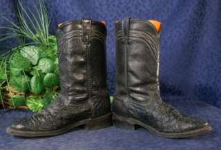 Vintage Black DAN POST Ostrich Rancher Cowboy Boots 8D