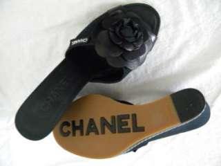 CHANEL Black Camellia Wedge Slides Sandal Shoe ~ EUC