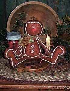 Primitive Gingerbread Man Cookie Ornie Doll Pattern 382