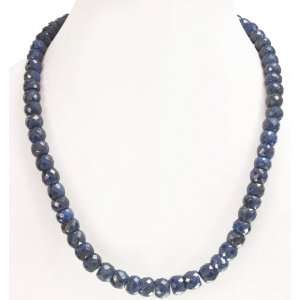 Elegant Natural Single Row Blue Sapphire Beaded Necklace