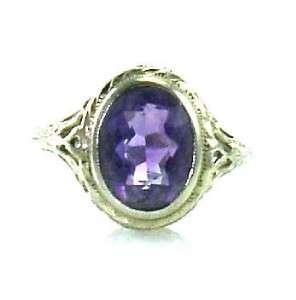 Vintage Deco Amethyst Filigree 18K White Gold Estate Jewelry Ring 6