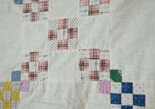 Vintage 20s Hand Pieced Double Nine Patch Antique Quilt Top ~MINT