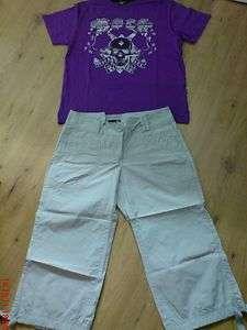 Star T Shirt LILA (Totenkopf) & Hose Stiefelhose 7/8 v. H&M Grau **2