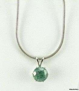 Green Diamond Solitare Pendant   14k White Gold GIA Certified Fancy
