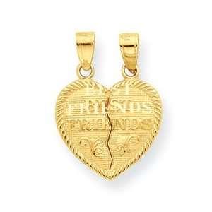 Designer Jewelry Gift 10K Best Friends Break Apart Heart Charm