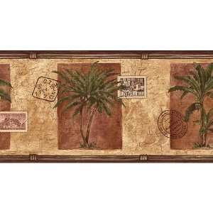 Gold and Brown Palm Tree and Postage Wallpaper Border
