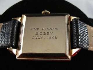 VINTAGE MOVADO 14K GOLD FANCY CABOCHON RUBY DIAL