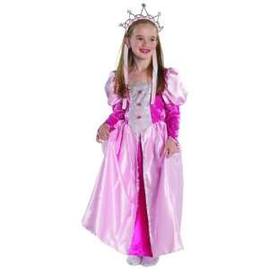 Medieval Regal Queen Pink Satin Panne Velvet Dress Child Costume Med