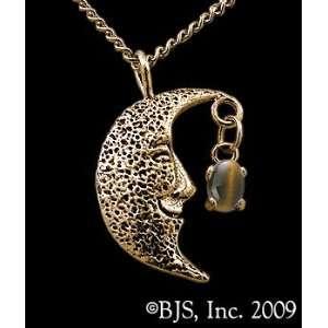 Necklace, 14k Yellow Gold, Tigers Eye set gemstone, Moon Star Jewelry