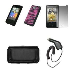 HTC Aria Black Leather Carrying Case + Black with Hot Pink