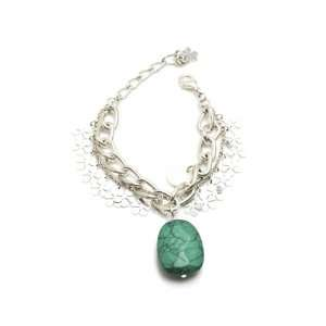 Natural Stone Chain Bracelet with Flower Charms in Silver, Turquoise