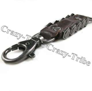 Mens Heavy Duty Leather Belt Loop Tool Keeper Ring Holder key chain