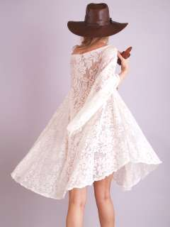 Vtg 70s LACE CROCHET Sheer Cutout Floral ANGEL SLV Hippie Wedding Mini